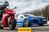 Кто быстрее супербайк или суперкар? Audi R8 V10 потягался с Ducati Panigale V4