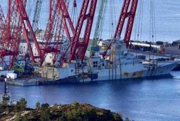 В Норвегии подняли на поверхность затонувший в ноябре фрегат